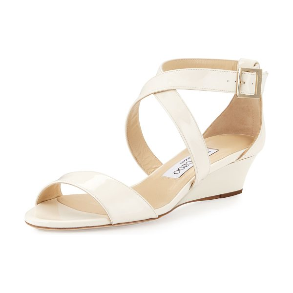 "JIMMY CHOO Chiara Patent Crisscross Wedge Sandal - Jimmy Choo patent leather sandal. 1.5"" covered wedge..."