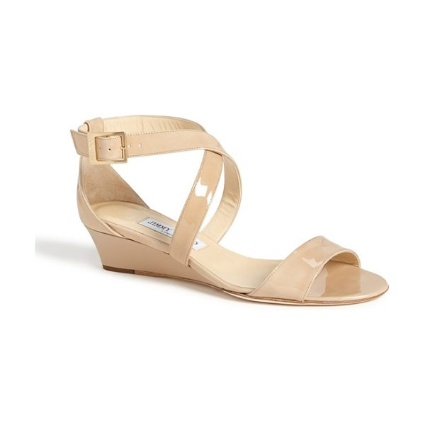 JIMMY CHOO 'chiara' strap wedge sandal - A minimal wedge adds a subtle boost to a strappy...