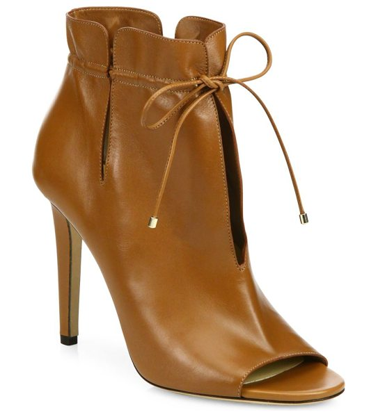 Jimmy Choo memphis 100 cinched leather peep-toe booties in brown - Slit leather peep-toe booties cinched at the ankle....