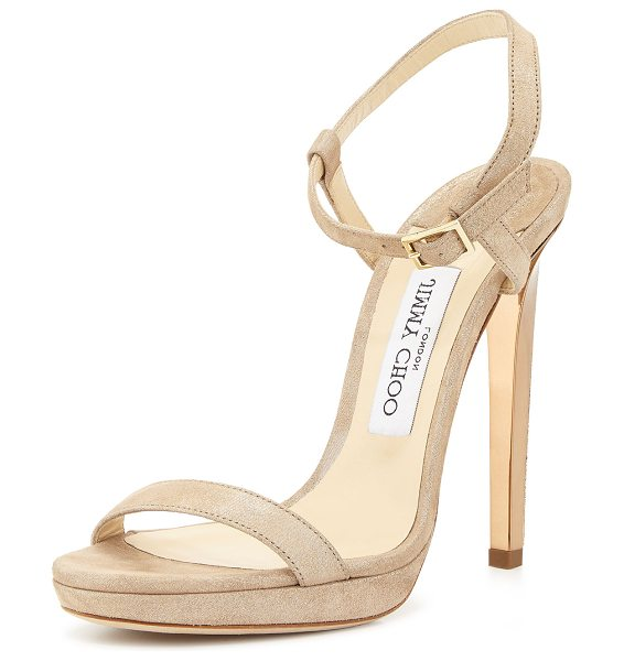 "JIMMY CHOO Claudette Shimmery Leather 120mm Sandal - Jimmy Choo shimmery leather sandal. 4.75"" covered heel;..."
