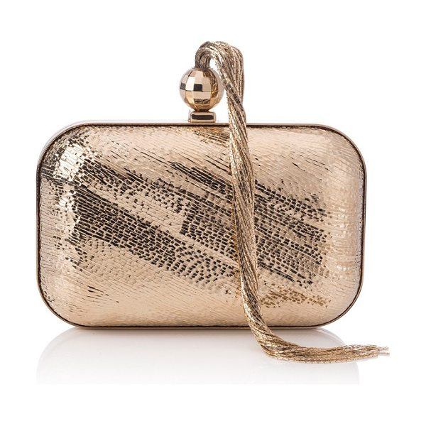 Jimmy Choo cloud tassel clutch in gold - Disco-era attitude merges with a chic, modern...