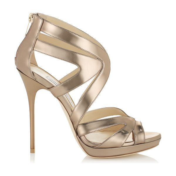 Jimmy Choo Collar nude mirror leather platform sandals in nude - These stunning cage sandals encase the foot with...