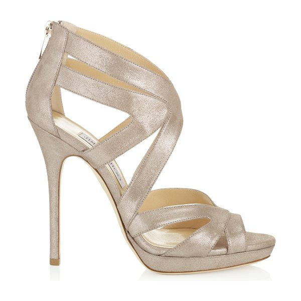 Jimmy Choo Collar sand shimmer leather platform sandals in sand - These stunning cage sandals encase the foot with...