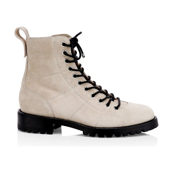 Jimmy Choo cruz suede combat boots in white sand - Essential combat boots elevated with a seamed suede...