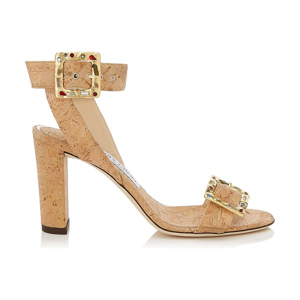 JIMMY CHOO DACHA 85 Natural Cork Sandals with Jewelled Buckle - The Dacha 85 in natural cork is a chic city sandal for...