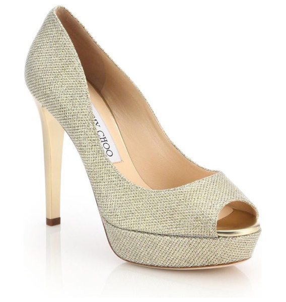 JIMMY CHOO dahlia 115 lame peep toe pumps in gold - EXCLUSIVELY AT SAKS FIFTH AVENUE. These glittering lame...