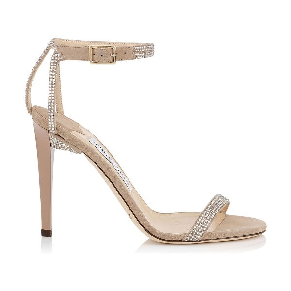 Jimmy Choo Daisy 100 nude suede sandals with hotfix crystals in nude - A red carpet sandal that is both simplistic and elegant....