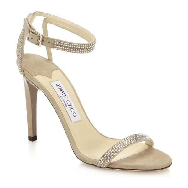 JIMMY CHOO Daisy crystal-embellished sandals in nude - Sophisticated and simply glamorous, these single-strap...