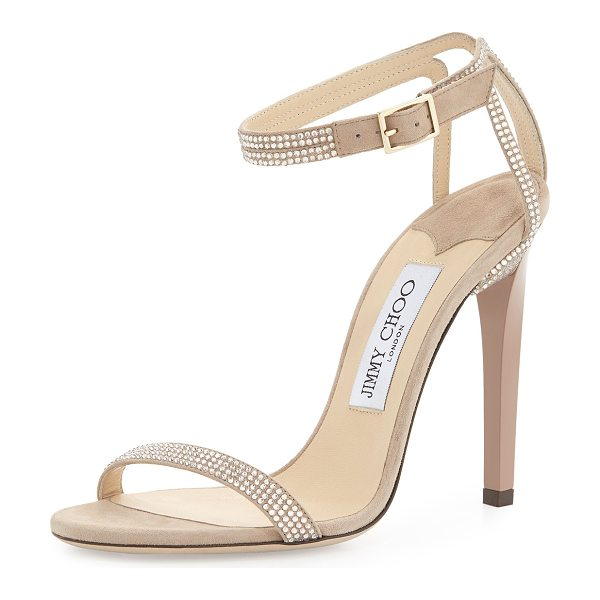 "Jimmy Choo Daisy crystallized ankle-wrap sandal in nude - Jimmy Choo suede sandal with crystal trim. 4"" covered..."