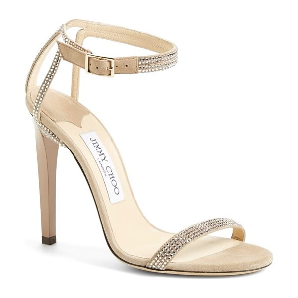 Jimmy Choo daisy sandal in nude suede - Shimmering crystals highlight the minimalist lines of a...