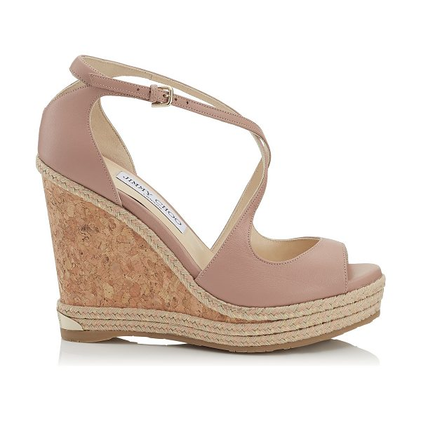 JIMMY CHOO DAKOTA 120 Ballet Pink Nappa Leather Wedge with Tonal Metallic Raffia - Feminine, chic and easy to wear, Dakota in ballet pink...
