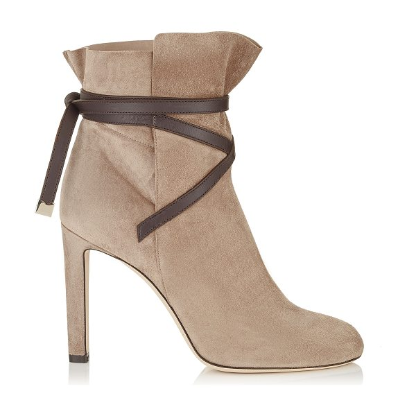 Jimmy Choo DALAL 100 Light Mocha Cashmere Suede Ankle Booties with Dark Brown Leather Strap Detail in light mocha/dark brown - A beautiful shoe bootie can carry you through the...