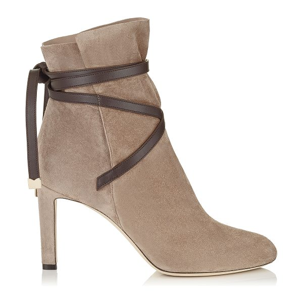 Jimmy Choo DALAL 85 Dark Brown Cashmere Suede Ankle Booties with Leather Strap Detail in light mocha/dark brown - A beautiful shoe bootie can carry you through the...