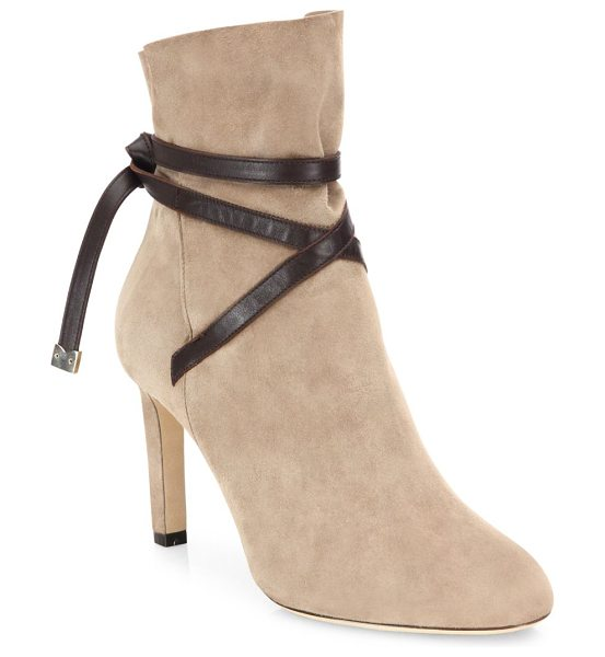 Jimmy Choo dalal 85 suede & leather booties in light mocha - Luxe cashmere suede bootie secured with leather strap....