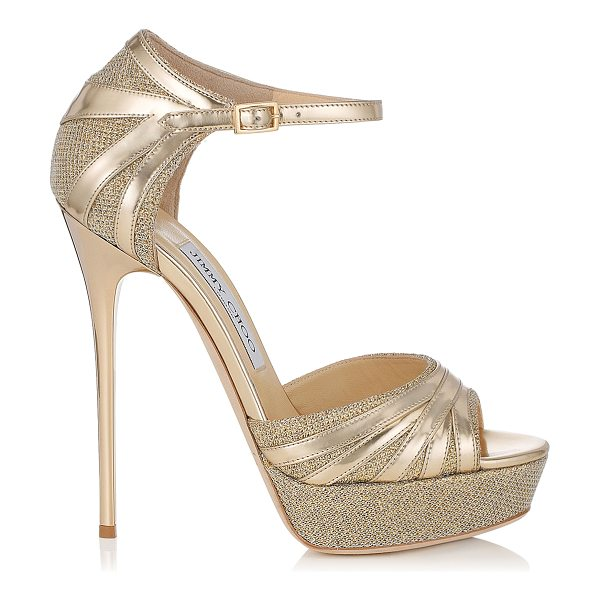 Jimmy Choo Damsel gold lamé glitter and mirror leather platform sandals in gold/gold - A towering platform sandal with serious attitude. Made...