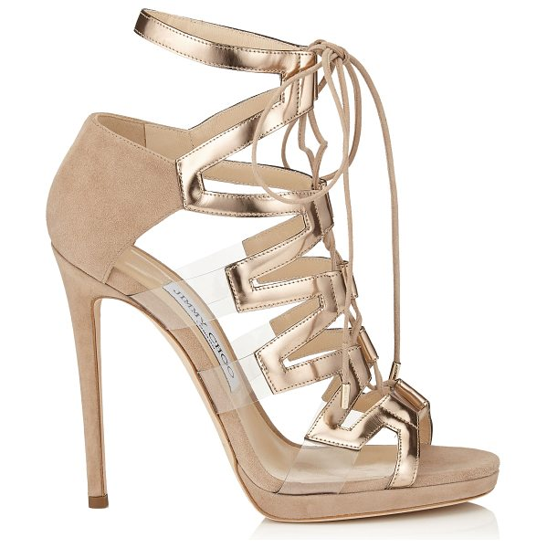 JIMMY CHOO DANI 120 Nude Suede, Mirror Leather and Perspex Sandals - An intricately designed strappy sandal that's cutaway...