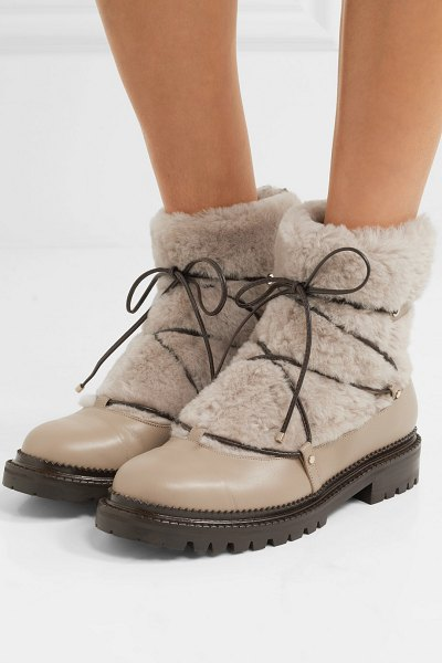 Jimmy Choo darcie shearling and leather ankle boots in beige - A good grip and cozy lining are essential to any good...