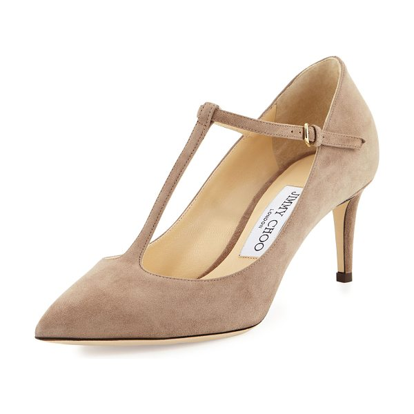 Jimmy Choo Daria Suede T-Strap 65mm Pump in mocha - Jimmy Choo suede pump. Available in multiple colors....