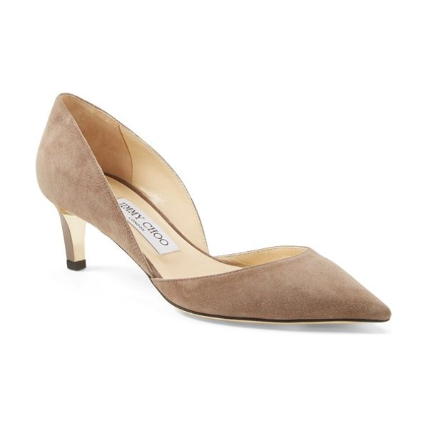 Jimmy Choo darylin suede dorsay pump in taupe - A classic pointy-toe d'Orsay pump is modernized with a...