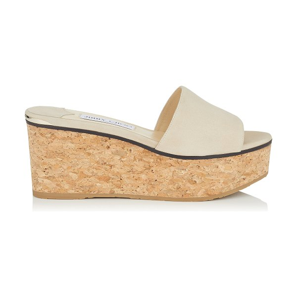 Jimmy Choo DEEDEE 80 White Sand Suede Sandal Wedges in white sand