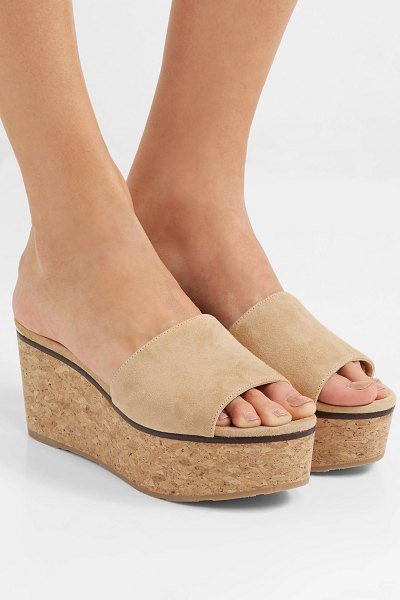 Jimmy Choo deedee suede wedge mules in camel - Jimmy Choo's 'Deedee' mules are so versatile and work...