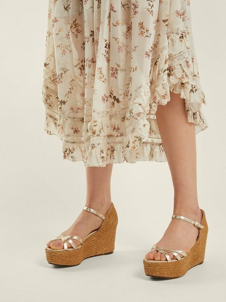 Jimmy Choo Delany 80 Leather Espadrille Wedge Sandals in gold - Jimmy Choo - Gold leather lends Jimmy Choo's Delany...