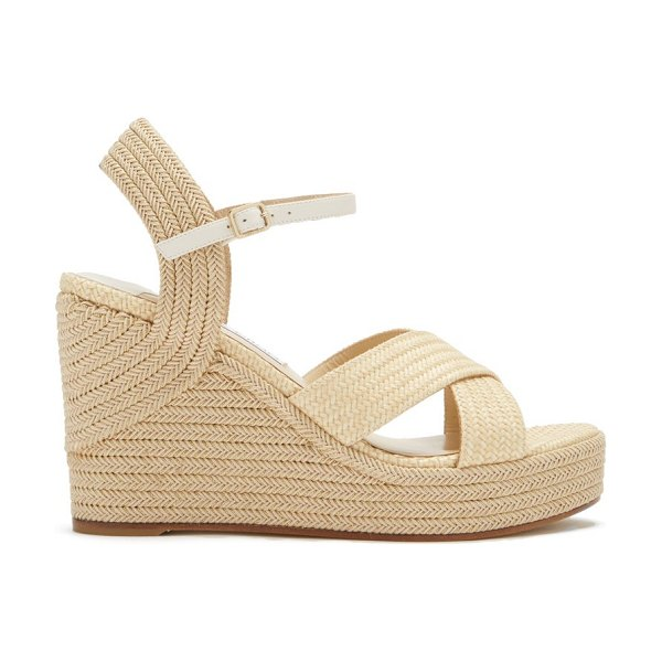 Jimmy Choo dellena 100 faux-raffia wedge sandals in beige