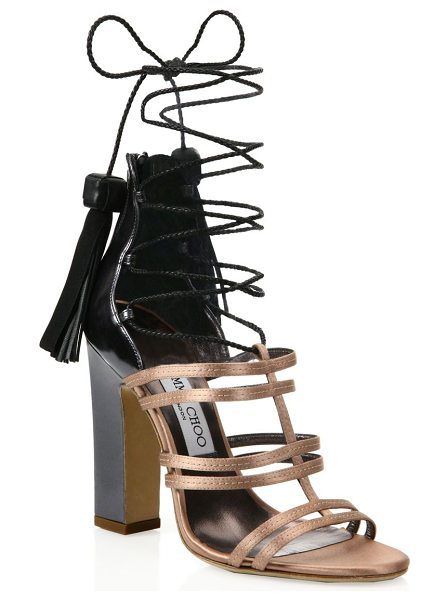 Jimmy Choo diamond tassel lace-up sandals in tearose - Two-tone cage sandal with slim braided tasseled ties....
