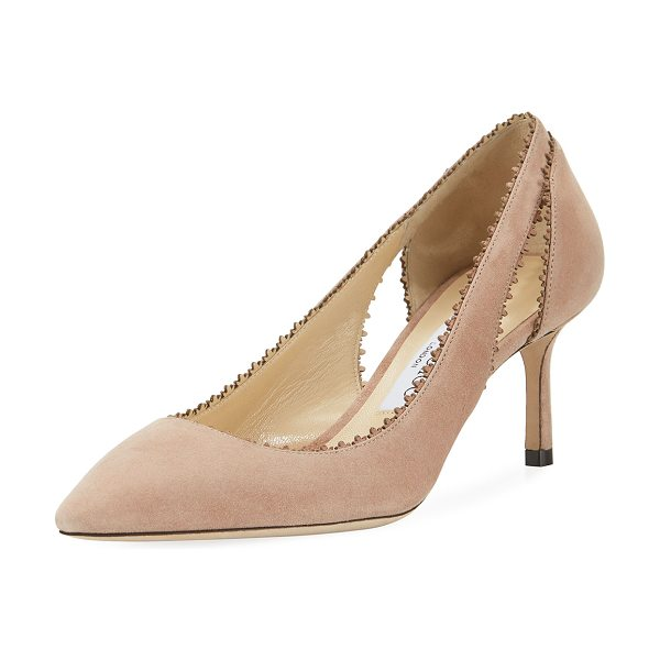 "Jimmy Choo Diva Suede Cutout 60mm Pump in pink - 2.4"" covered heel. Pointed toe. Laser-cut collar. Cutout..."