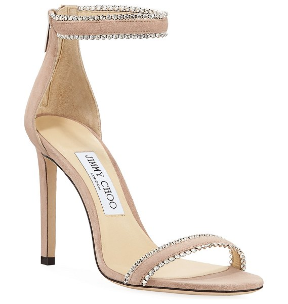 Jimmy Choo Dochas Jeweled Ankle-Strap Sandals in pink