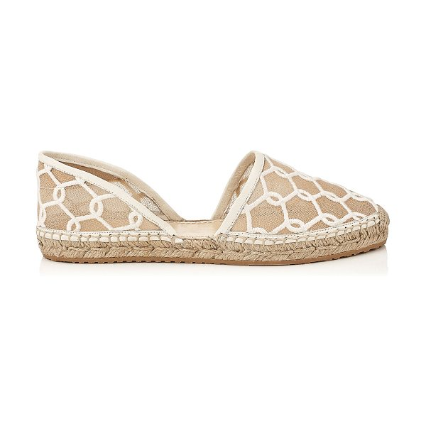 Jimmy Choo DREYA Latte Chain Embroidered Lace Espadrille in latte - This two-piece D'Orsay espadrille is a clean and...