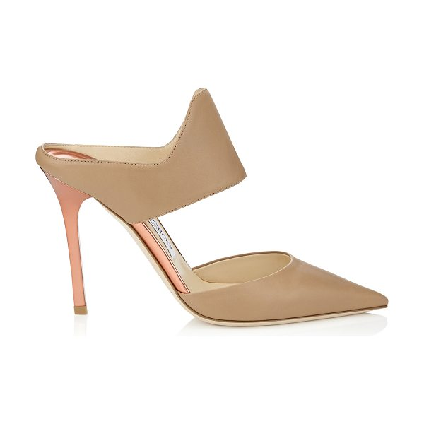 JIMMY CHOO Duty 100 nude soft leather and rose gold mirror leather pointy toe mules - Playing with bold, graphic lines, these sandals are...