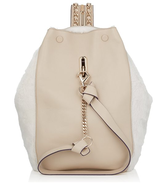 JIMMY CHOO Echo m marble nappa leather and natural shearling backpack - An innovative take on the modern backpack, Echo has a...