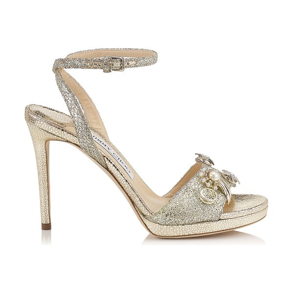 Jimmy Choo ELECTRA 100 Champagne Glitter Fabric Sandals with Jewelled Buttons in champagne - Electra is a simple two piece platform sandal with...