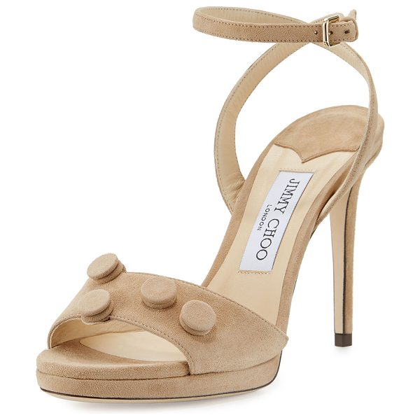 "Jimmy Choo Electra Suede Button 100mm Sandal in nude - Jimmy Choo suede sandal. 4"" covered heel. Strap bands..."