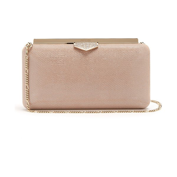 Jimmy Choo Ellipse Crystal Embellished Clutch Bag in nude multi - Jimmy Choo - Jimmy Choo's metallic blush-pink Ellipse...