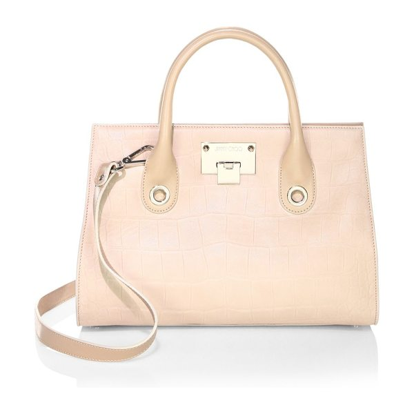 Jimmy Choo embossed leather top handle bag in nude - Leather top handle bag featuring embossed details....