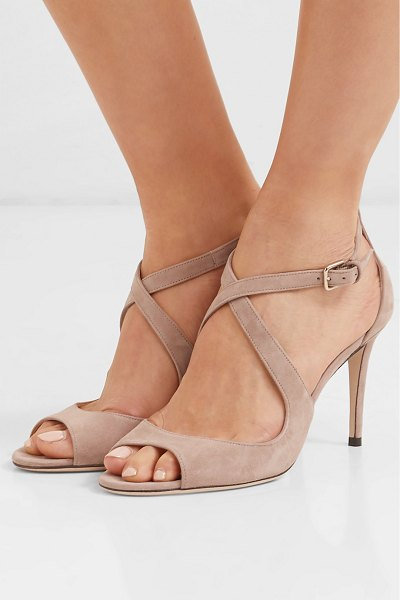 Jimmy Choo emily 85 suede sandals in neutral