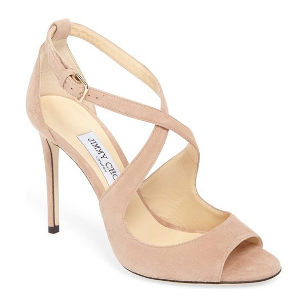 Jimmy Choo emily peep toe sandal in pink suede - A metallic finish highlights the sinuous curves of this...