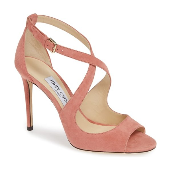 Jimmy Choo emily peep toe sandal in pink - A metallic finish highlights the sinuous curves of this...