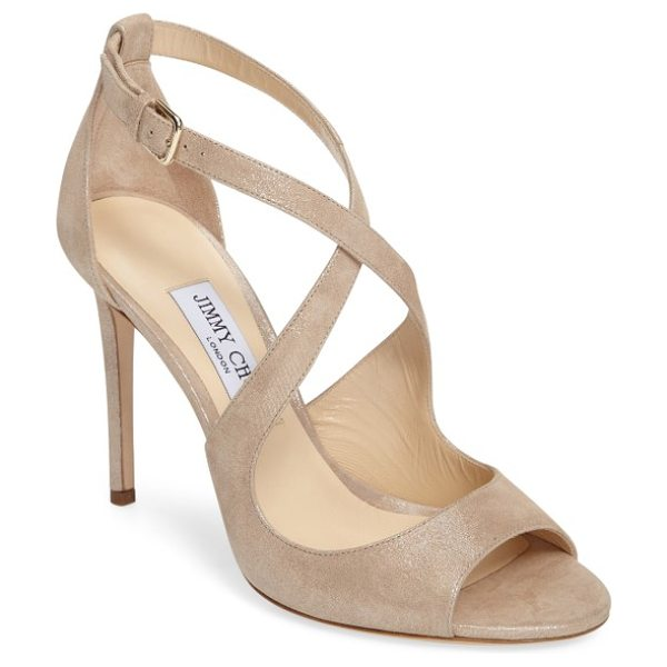 Jimmy Choo jimmy choo emily peep toe sandal in sand suede - A metallic finish highlights the sinuous curves of this...