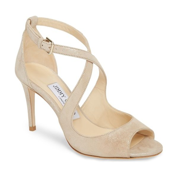Jimmy Choo emily sandal in beige - A touch of understated shimmer highlights the sinuous...