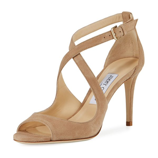 "Jimmy Choo Emily Suede Crisscross 85mm Sandal in beige - Jimmy Choo suede sandal. 3.3"" covered heel. Open toe...."