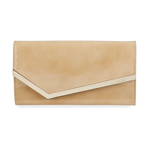 Jimmy Choo Emmie Patent Leather Clutch Bag in nude - Jimmy Choo patent leather clutch bag with golden...