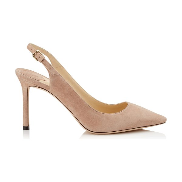Jimmy Choo ERIN 85 Ballet Pink Suede Sling-Back Pumps in ballet pink - The Erin pointed sling-back pump in ballet pink suede is...