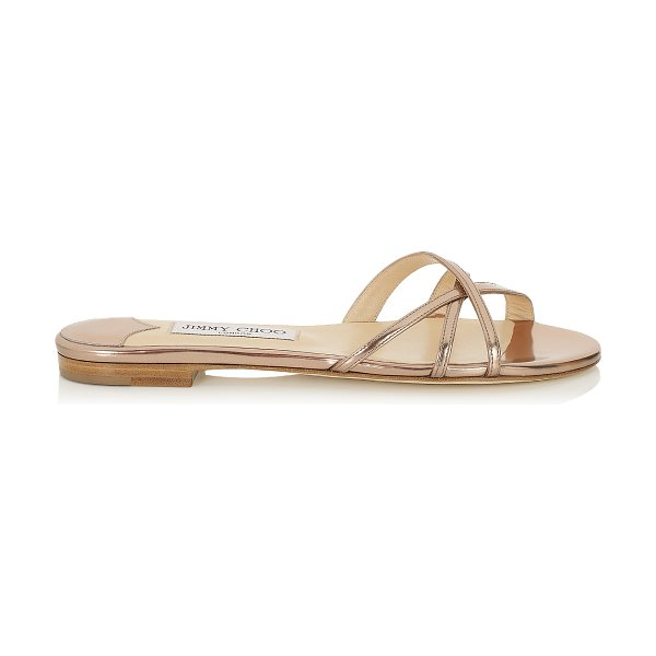 Jimmy Choo Erin nude mirror leather flat sandals in nude - From pretty dresses to flowing kaftans or cute shorts -...