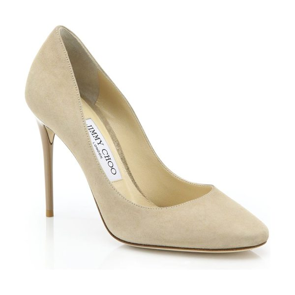 Jimmy Choo esme 100 suede pumps in beige - Sumptuous suede pump with classic round toe....