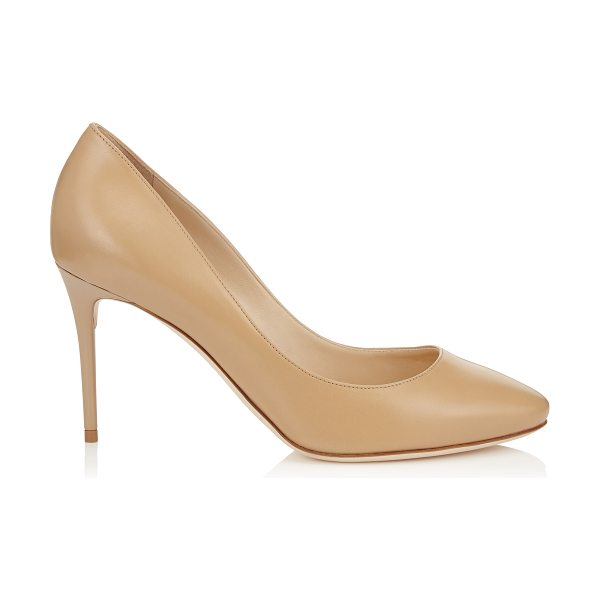 Jimmy Choo ESME 85 Nude Kid Leather Round Toe Pumps in nude - A stylish and modern round toe pump. Leather lined and...