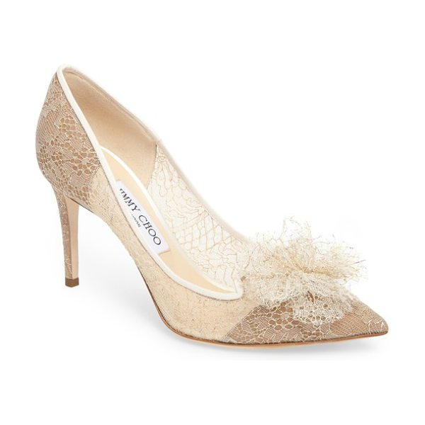 Jimmy Choo estelle chantilly tulle pump in champagne -