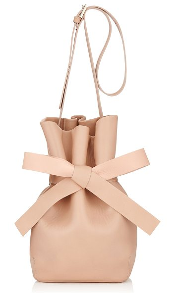 Jimmy Choo Eve ballet pink nappa leather bucket bag in ballet pink - Eve brings the bondage ballerina inspiration alive with...